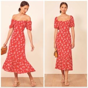 Reformation Red Print Hannah Midi Dress 2 NWOT